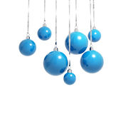 Blue Christmas balls on ribbons isolated Royalty Free Stock Image
