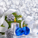Blue christmas balls and silver candle Royalty Free Stock Photo