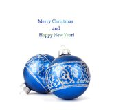 Blue Christmas balls with silver ornament isolated Royalty Free Stock Image