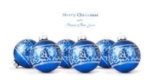 Blue Christmas balls with silver ornament isolated Royalty Free Stock Photo