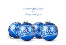 Blue Christmas balls with silver ornament isolated Stock Images