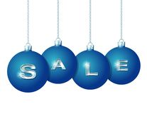 Blue Christmas balls with silver word Sale Stock Photos