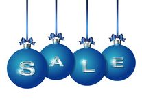 Blue Christmas balls with silver word Sale stock illustration