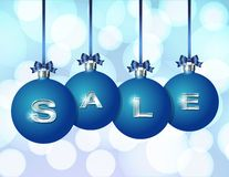 Blue Christmas balls with silver word Sale Royalty Free Stock Image