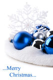 Blue christmas balls and snowflake Royalty Free Stock Photo