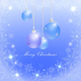 Blue Christmas balls and snowflakes, Royalty Free Stock Photo