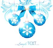 Blue Christmas balls with snowflakes. Stock Photography