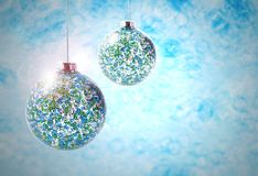 Blue christmas balls stock images Royalty Free Stock Photography