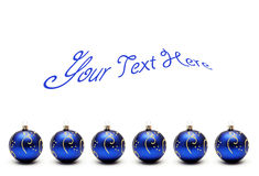 Blue christmas balls with text Stock Images