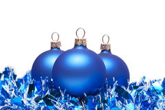 Blue christmas balls with tinsel Stock Image
