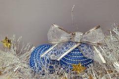 Blue Christmas balls and tinsel Stock Photo