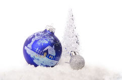 Blue christmas balls and tree Royalty Free Stock Photography