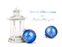 Blue Christmas balls and vintage lantern Stock Photos