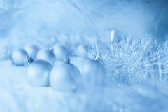 Blue Christmas balls Stock Photography