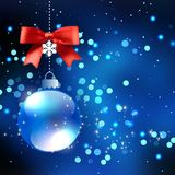 Blue Christmas balls on winter backgrounds Royalty Free Stock Image