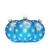 Blue Christmas Balls With Snowflakes Stock Photo