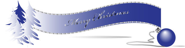 Blue Christmas banner. With trees and ornament Royalty Free Stock Photo
