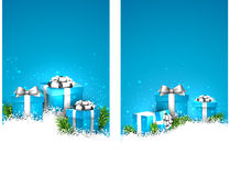 Blue christmas banners with gift boxes Royalty Free Stock Photo
