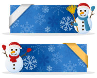 Blue Christmas Banners with Snowman. Two blue Christmas banners with a cute cartoon snowman smiling and greeting, snowflakes and a ribbon. Eps file available Royalty Free Stock Photography