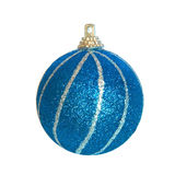 Blue Christmas bauble. Blue Christmas bauble isolated on white Stock Images