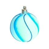 Blue Christmas bauble. Blue Christmas bauble isolated on white Stock Photos