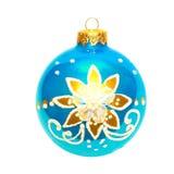 Blue Christmas bauble. Blue Christmas bauble  isolated on white Royalty Free Stock Image