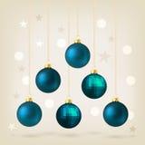 Blue Christmas bauble card design Stock Photography