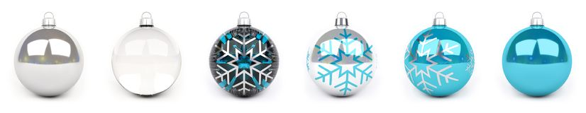 Blue christmas bauble collection 3D rendering. Blue christmas bauble collection on white background 3D rendering Stock Photos