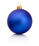 Blue christmas bauble Isolated on white background Royalty Free Stock Images
