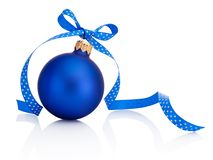 Blue Christmas bauble with ribbon bow Isolated on white background. Blue Christmas bauble with ribbon bow Isolated on a white background stock image
