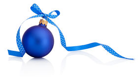 Blue Christmas bauble with ribbon bow Isolated on white Royalty Free Stock Photography
