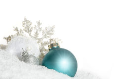 Blue Christmas bauble with snow crystal Royalty Free Stock Images