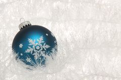 Blue christmas bauble with snowflakes Royalty Free Stock Photos