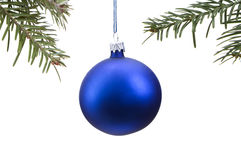 Blue Christmas bauble and tree isolated Stock Photos