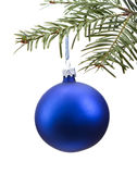 Blue Christmas bauble on the tree Stock Photo