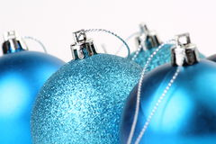 Blue Christmas Baubles Stock Photos