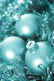 Blue Christmas baubles Royalty Free Stock Images