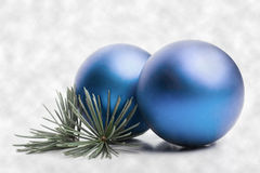 Blue christmas baubles stock photo
