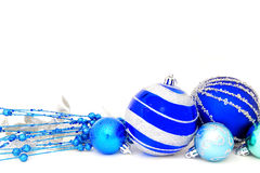 Blue Christmas baubles Stock Photography