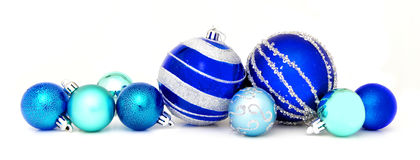 Blue Christmas baubles Royalty Free Stock Photography