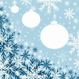 Blue Christmas baubles. Christmas card or gift tag image. Blue symbolizes the chill of wintery days vector illustration