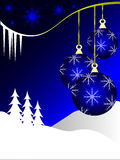 Blue Christmas Baubles Stock Image