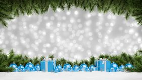 Blue christmas baubles and gifts lined up 3D rendering. Blue christmas gifts and baubles lined up on grey snowy background 3D rendering vector illustration