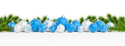 Blue christmas baubles and gifts lined up 3D rendering. Blue christmas gifts and baubles lined up on white background 3D rendering vector illustration