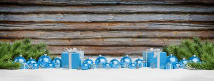 Blue christmas baubles and gifts lined up 3D rendering. Blue christmas gifts and baubles lined up on wooden background 3D rendering stock illustration