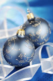 Blue Christmas Baubles And Ribbons Stock Photos