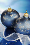 Blue Christmas Baubles And Ribbons Royalty Free Stock Images