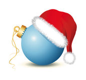 Blue Christmas baubles with Santa Claus Hat. Blue Christmas ball, Christmas ball , santa claus hat, red hat, red cap,   fir twigs, christmas ornament, white Stock Photos