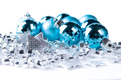 Blue Christmas baubles with silver decoration Royalty Free Stock Image