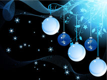 Blue Christmas baubles and waves Stock Photo